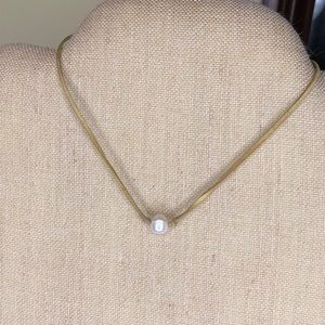 Jewelry - Tan suede cord with single faux pearl